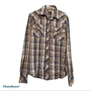 True Religion Plaid Snap Button Down Western Shirt